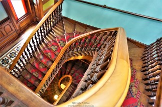 The solid kauri and mahogany Staircase leading all the way up to the nursery floor and tower