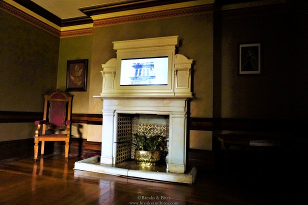 The fireplace in Gun room